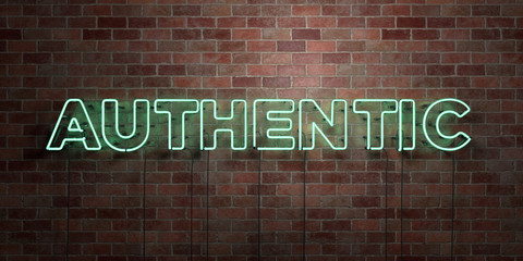 AUTHENTIC - fluorescent Neon tube Sign on brickwork - Front view - 3D rendered royalty free stock picture. Can be used for online banner ads and direct mailers.. Wall mural
