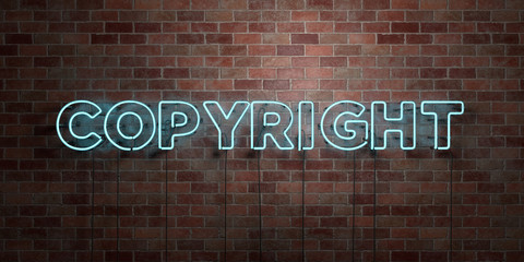COPYRIGHT - fluorescent Neon tube Sign on brickwork - Front view - 3D rendered royalty free stock picture. Can be used for online banner ads and direct mailers..