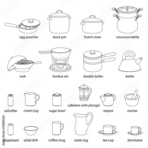 Kitchen Utensils Illustrations Set. Cooking, Dinner Service, With Names.  White Flat Outlined