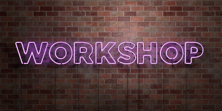 WORKSHOP - fluorescent Neon tube Sign on brickwork - Front view - 3D rendered royalty free stock picture. Can be used for online banner ads and direct mailers..