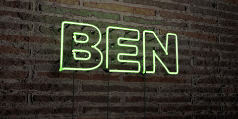 BEN -Realistic Neon Sign on Brick Wall background - 3D rendered royalty free stock image. Can be used for online banner ads and direct mailers..
