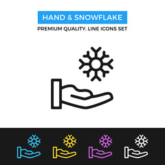 Vector hand and snowflake icon. Winter concept. Thin line icon
