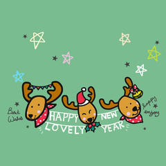 Happy New Year and cute reindeer cartoon illustration