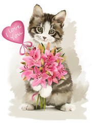 Kitten with flowers watercolor painter
