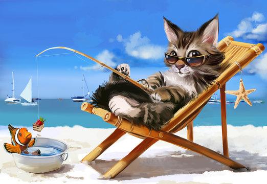 Kitten fisherman watercolor painter