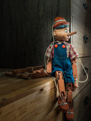 Traditional puppets made of wood in vintage style