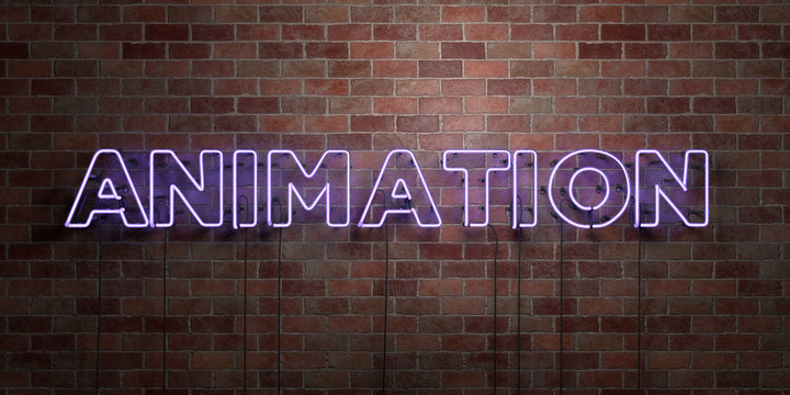 ANIMATION - fluorescent Neon tube Sign on brickwork - Front view - 3D rendered royalty free stock picture. Can be used for online banner ads and direct mailers..