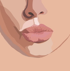 Woman's gentle bow lips blowing a kiss