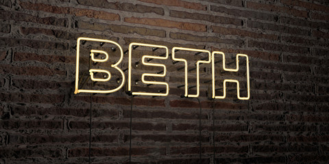 BETH -Realistic Neon Sign on Brick Wall background - 3D rendered royalty free stock image. Can be used for online banner ads and direct mailers..