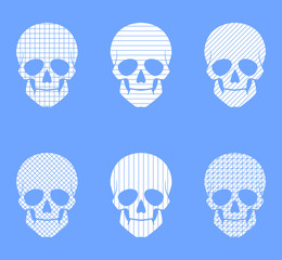 Set of 6 skulls. geometric patterns on a blue background.