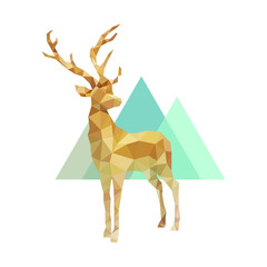 polygonal golden stag, poly low animal vector