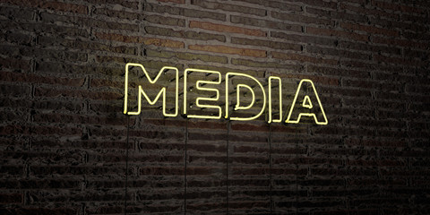 MEDIA -Realistic Neon Sign on Brick Wall background - 3D rendered royalty free stock image. Can be used for online banner ads and direct mailers.. Wall mural