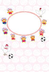ニワトリとサッカーボールのキッズの可愛いメッセージカード