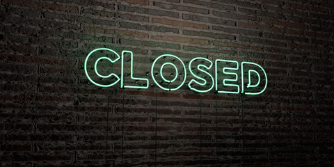 CLOSED -Realistic Neon Sign on Brick Wall background - 3D rendered royalty free stock image. Can be used for online banner ads and direct mailers..