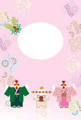 和服姿のニワトリのイラストのメッセージカード