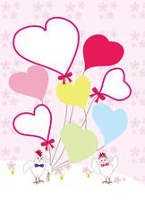 トリと可愛いハート型風船のイラストのメッセージカード