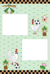 ニワトリとサッカーボールのポップで可愛いメッセージカード