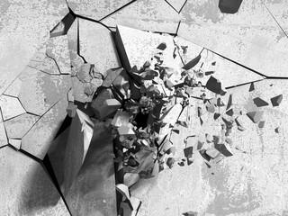 Pęknięty betonowy mur 3D