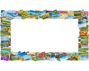 Frame made of various nature photos