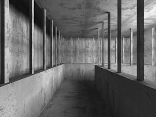 Dark empty concrete basement room interior. Urban architecture b