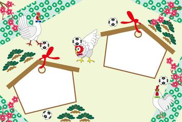 ニワトリの絵馬とサッカーボールの入ったメッセージカード