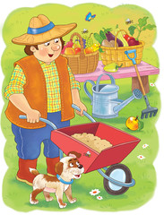 Professions. Coloring page. A farmer. Cute and funny cartoon characters. Illustration for children