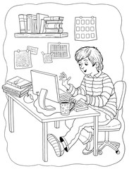 Professions. Coloring page. A programmer. Cute and funny cartoon character. Illustration for children