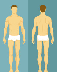 illustration of a healthy young man from front and back view