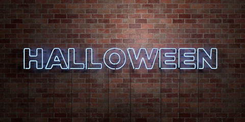 HALLOWEEN - fluorescent Neon tube Sign on brickwork - Front view - 3D rendered royalty free stock picture. Can be used for online banner ads and direct mailers..