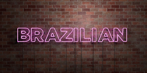 BRAZILIAN - fluorescent Neon tube Sign on brickwork - Front view - 3D rendered royalty free stock picture. Can be used for online banner ads and direct mailers..