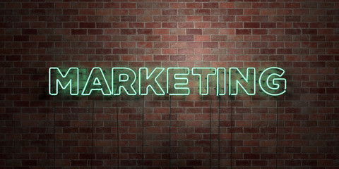 MARKETING - fluorescent Neon tube Sign on brickwork - Front view - 3D rendered royalty free stock picture. Can be used for online banner ads and direct mailers..