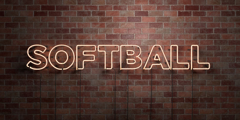 SOFTBALL - fluorescent Neon tube Sign on brickwork - Front view - 3D rendered royalty free stock picture. Can be used for online banner ads and direct mailers..