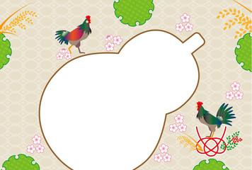 和風のニワトリとひょうたんのメッセージカード