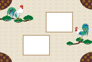 和風のニワトリと松の木のメッセージカード