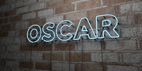 OSCAR - Glowing Neon Sign on stonework wall - 3D rendered royalty free stock illustration.  Can be used for online banner ads and direct mailers..