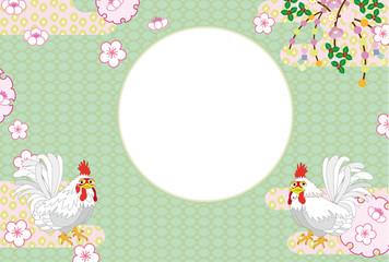 和風のニワトリと梅の花のメッセージカード