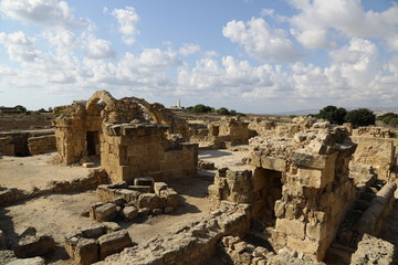 The ruins of a castle forty columns in Paphos