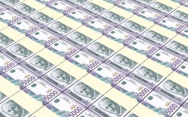Serbian dinar bills stacks background. 3D illustration.