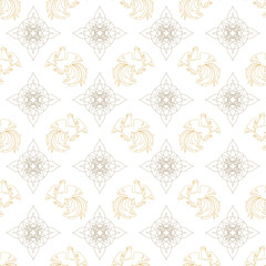 Fire Rooster 2017, China New year, seamless pattern. White and gold