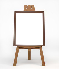 Vintage wooden easel painter, standing on the floor. Easel with