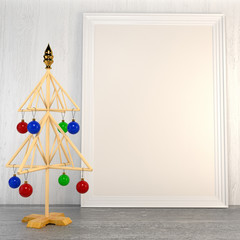 Christmas mock up with a symbolic tree with Christmas colored ba