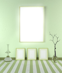 3D illustration abstract mock up in the interior. Blank frame on