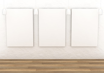 Mockup interior gallery. Paintings with a blank canvas and white