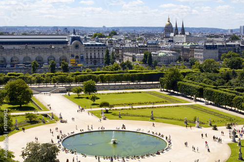 Aerial view of jardin des tuileries and paris cityscape for Jardins jardins des tuileries