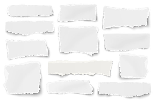 Set of paper different shapes scraps isolated on white