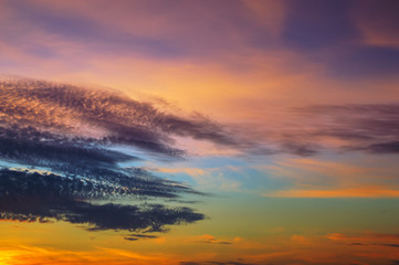 gloomy clouds with colorful sky