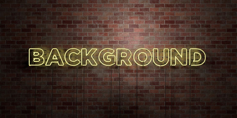 BACKGROUND - fluorescent Neon tube Sign on brickwork - Front view - 3D rendered royalty free stock picture. Can be used for online banner ads and direct mailers..