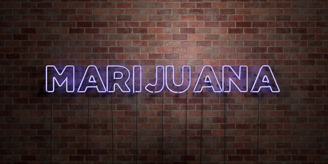 MARIJUANA - fluorescent Neon tube Sign on brickwork - Front view - 3D rendered royalty free stock picture. Can be used for online banner ads and direct mailers..