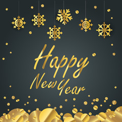 Happy new year greeting card. Different golden vector snowflakes