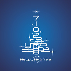New Year 2017 numbers Christmas tree blue vector